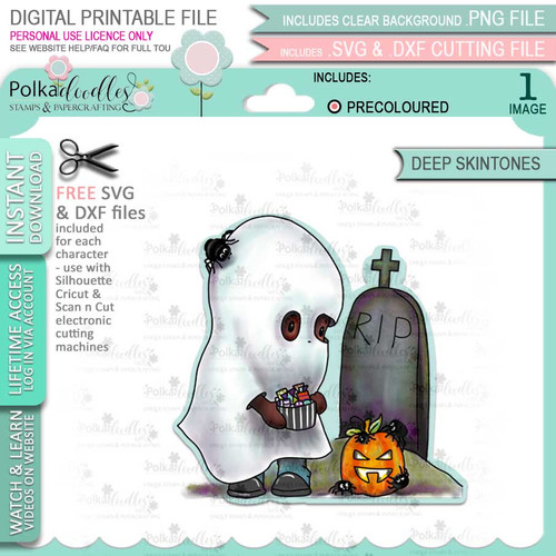 Boo Halloween Ghost (precolored deep skintones)- printable digital stamp download with free SVG /DXF files