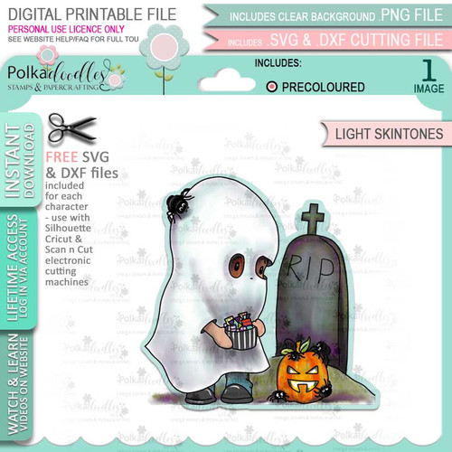 Boo Halloween Ghost (precolored light skintones)- printable digital stamp download with free SVG /DXF files