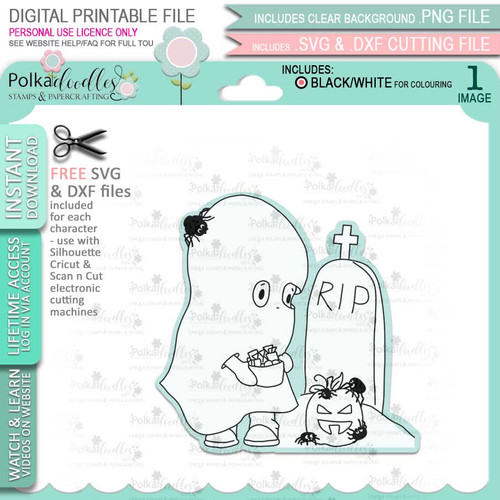 Boo Halloween Ghost - printable digital stamp download with free SVG /DXF files