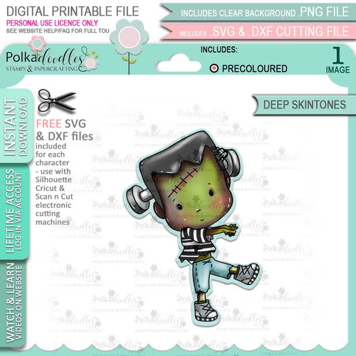 Boo Halloween Frankenstein monster (precolored deep skintones)- printable digital stamp download with free SVG /DXF files