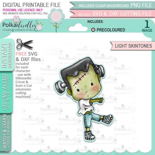 Boo Halloween Frankenstein Monster (precolored light skintones)- printable digital stamp download with free SVG /DXF files