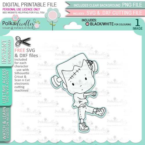 Frankenstein Monster Boo Halloween - printable digital stamp download with free SVG /DXF files