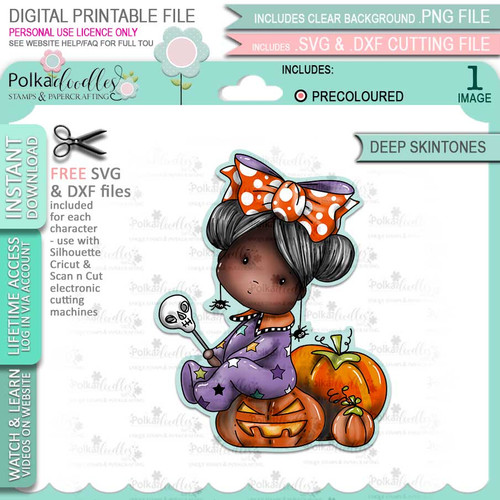 Pumpkin Boo Halloween (precolored deep skintones)- printable digital stamp download with free SVG /DXF files