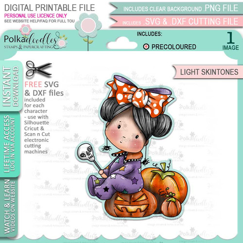 Pumpkin Girl Boo Halloween (precolored light skintones)- printable digital stamp download with free SVG /DXF files
