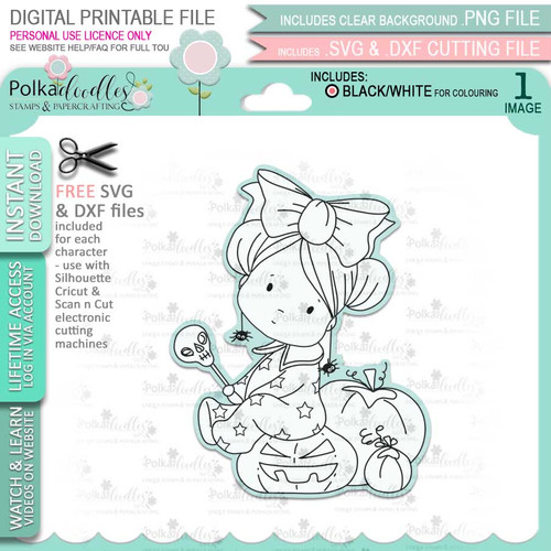 Pumpkin Girl Boo Halloween - printable digital stamp download with free SVG /DXF files