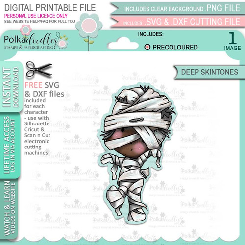 Mummy Boo Halloween (precolored deep skintones)- printable digital stamp download with free SVG /DXF file