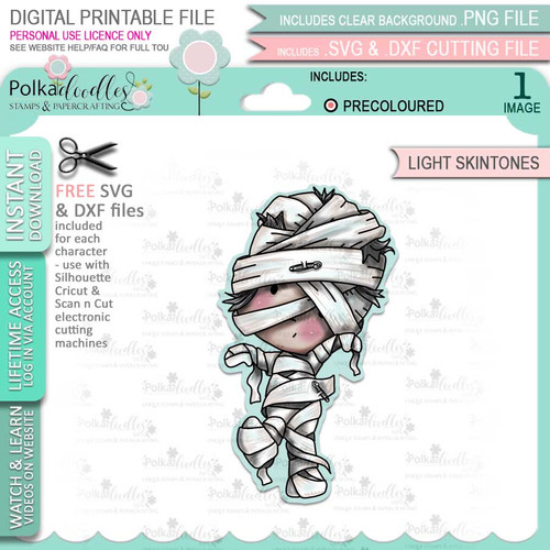 Mummy Boo Halloween (precolored light skintones)- printable digital stamp download with free SVG /DXF files
