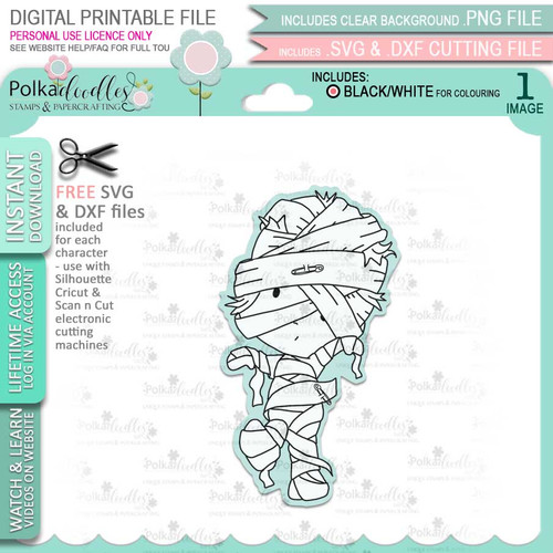 Mummy Boo Halloween - printable digital stamp download with free SVG /DXF files
