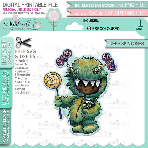 Monster Halloween (precolored deep skintones)- printable digital stamp download with free SVG /DXF files