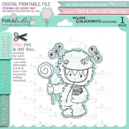 Monster Boo Halloween - printable digital stamp download with free SVG /DXF files