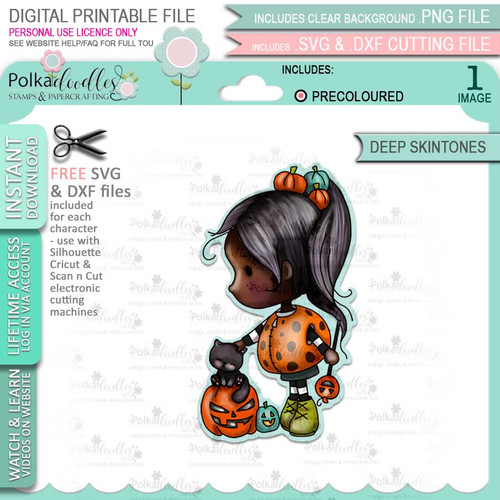 Spooky Kitty Cat Pumpkin girl Halloween (precolored deep skintones)- printable digital stamp download with free SVG /DXF files