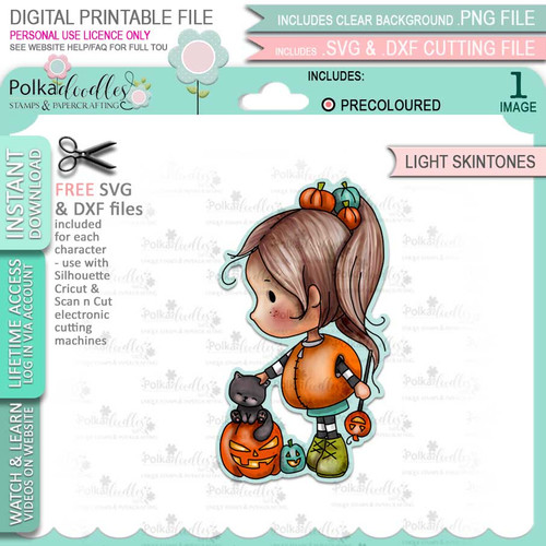 Spooky Kitty Cat Pumpkin Halloween (precolored light skintones)- printable digital stamp download with free SVG /DXF files