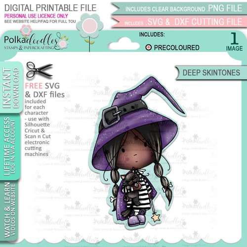 Little Witch Halloween (precolored deep skintones)- printable digital stamp download with free SVG /DXF files
