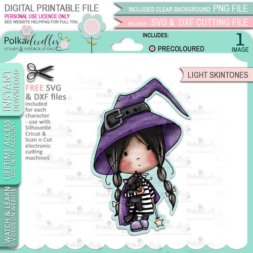 Cute Little Witch Halloween (precolored light skintones)- printable digital stamp download with free SVG /DXF files