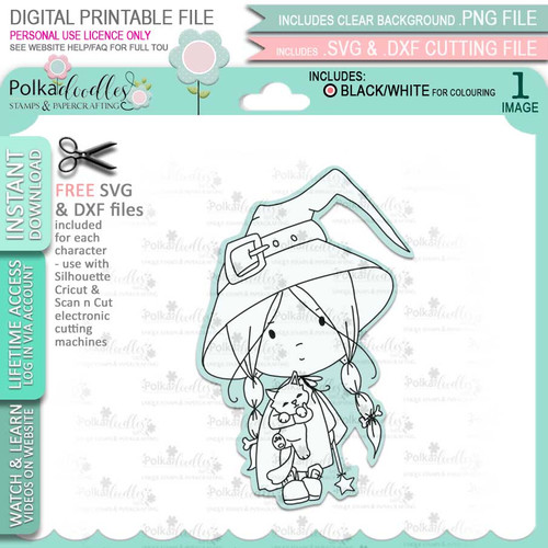 Cute Little Witch Boo Halloween - printable digital stamp download with free SVG /DXF files