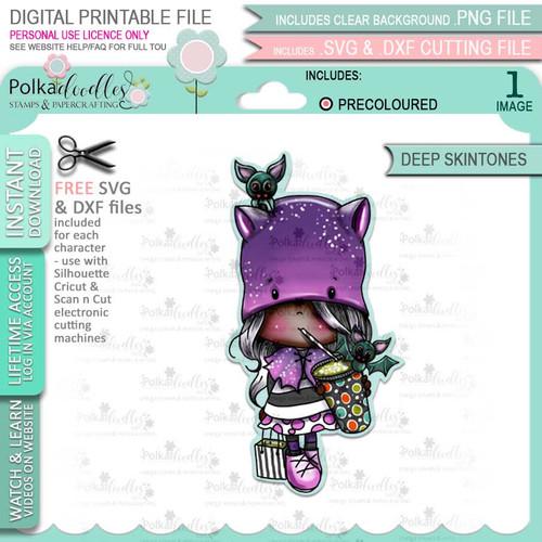 Bat Girl Halloween (precolored deep skintones)- printable digital stamp download with free SVG /DXF files