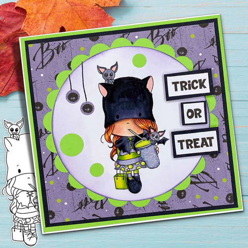 Bat Girl Boo Halloween - printable digital stamp download with free SVG /DXF files