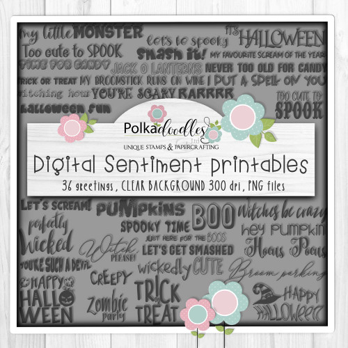 Boo Halloween Sentiment bundle - printable digital stamp downloads