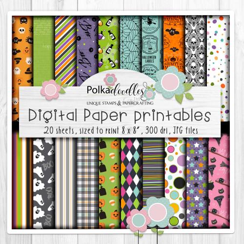 Boo Halloween printable background paper digital bundle