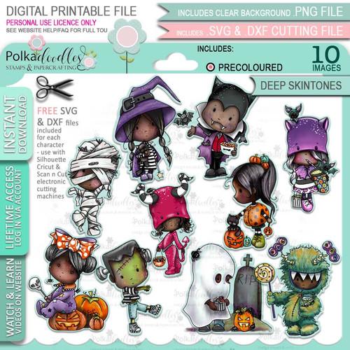Boo Halloween precolored deep skintones big bundle - 10 x printable digital stamp download with free SVG /DXF files