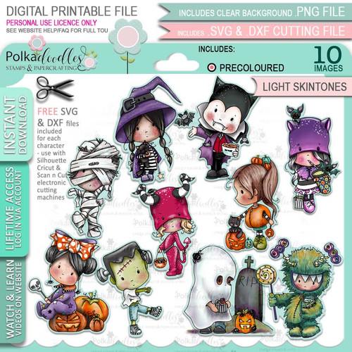 Boo Halloween precolored light skintones big bundle - 10 x printable digital stamp download with free SVG /DXF files