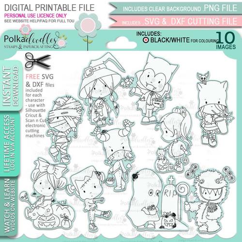 Boo Halloween big bundle - 10 x printable digital stamp download with free SVG /DXF files