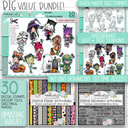 Boo Halloween Big Kahuna bundle - printable digital stamp downloads with free SVG /DXF files, papers and greeting
