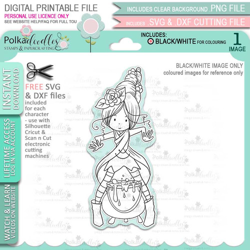 Willa Witch Halloween - printable digital stamp download with free SVG /DXF files