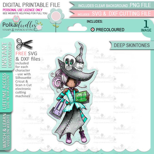 Ravella Witch cute Halloween (precolored deep skintones)- printable digital stamp download with free SVG /DXF files