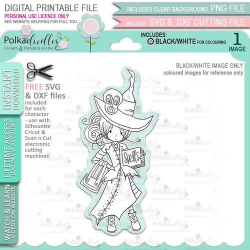 Ravella Witch Halloween - printable digital stamp download with free SVG /DXF files
