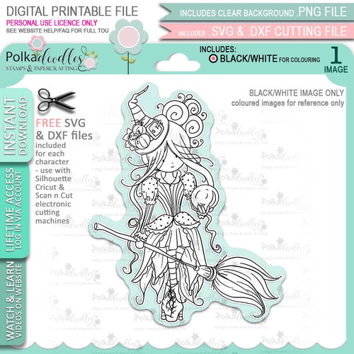 Isadora Witch Halloween - printable digital stamp download with free SVG /DXF files