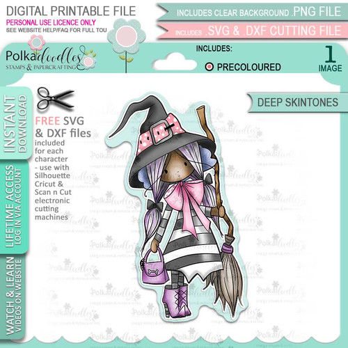 Matilda Witch cute Halloween (precolored deep skintones)- printable digital stamp download with free SVG /DXF files