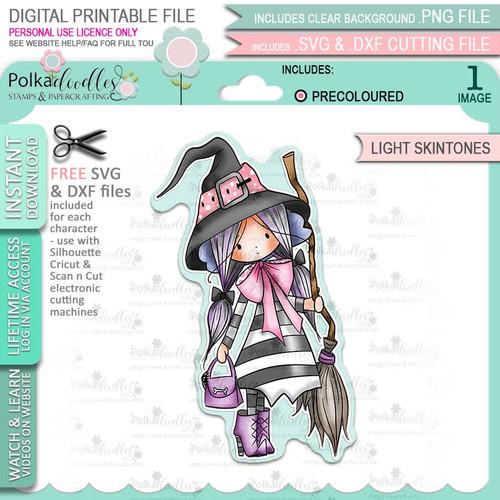 Matilda Witch Halloween (precolored light skintones)- printable digital stamp download with free SVG /DXF files