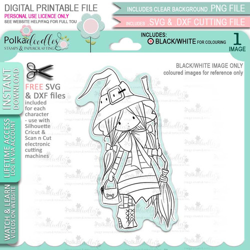 Matilda Witch Halloween - printable digital stamp download with free SVG /DXF files