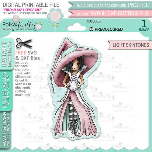 Cordelia Witch Halloween (precolored light skintones)- printable digital stamp download with free SVG /DXF files
