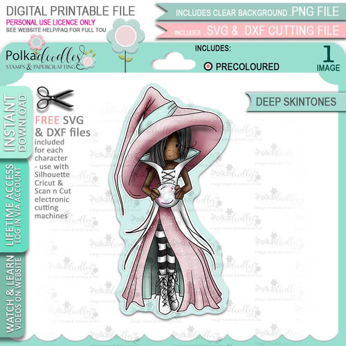 Cordelia Witch cute Halloween (precolored deep skintones)- printable digital stamp download with free SVG /DXF files