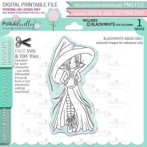 Cordelia Witch Halloween - printable digital stamp download with free SVG /DXF files