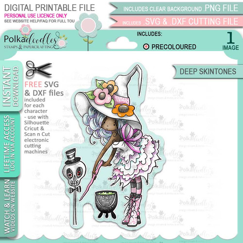 Belladonna Witch cute Halloween (precolored deep skintones)- printable digital stamp download with free SVG /DXF files