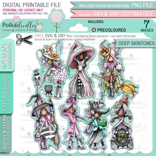 Spellbinding Witches precolored deep skintones big bundle - 7 x printable digital stamp download with free SVG /DXF files