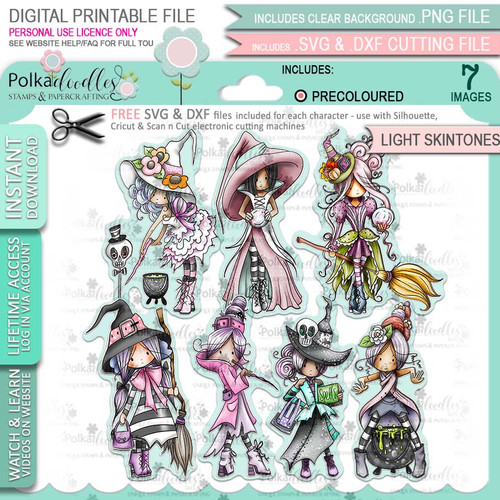 Spellbinding Witches precolored light skintones big bundle - 7 x printable digital stamp download with free SVG /DXF files