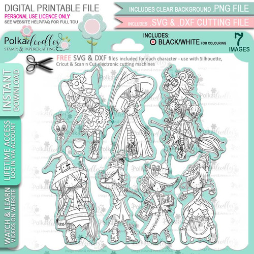 Spellbinding Witches big bundle - 7 x printable digital stamp download with free SVG /DXF files