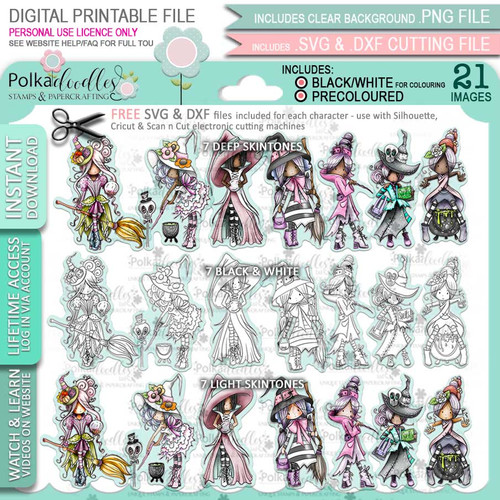 Spellbinding Witches Big Kahuna bundle - printable digital stamp downloads with free SVG /DXF files, papers and greetings