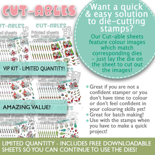 Multipack Cut-ables & Dies - 6 x 10 printed sheets, Gnome Christmas collection  2