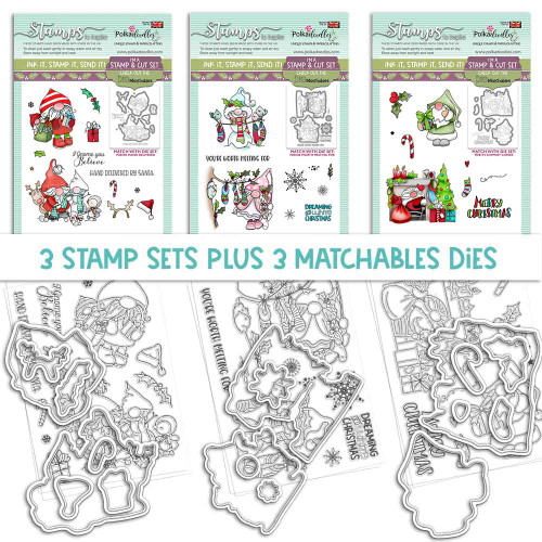 GNOME-AZING CHRISTMAS - 3 MATCHABLES SETS OF STAMPS & DIES, OPTION 3 (PD8171MB3