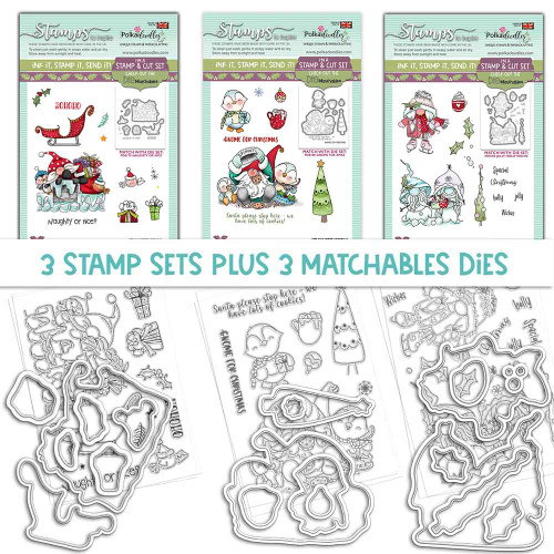 GNOME-AZING CHRISTMAS - 3 MATCHABLES SETS OF STAMPS & DIES, OPTION 4 (PD8171MB4)