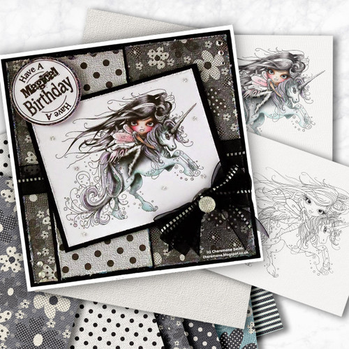 Octavia Moonfly Unicorn Digital Stamp Craft Download