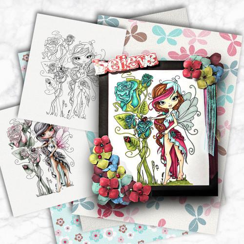 Octavia Moonfly Rose Garden Digital Stamp Craft Download