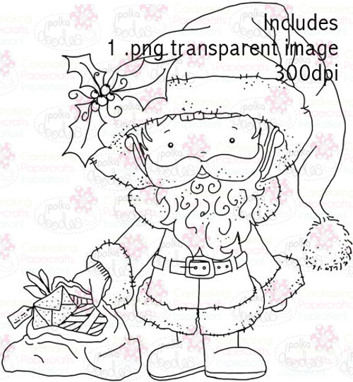 A santa digital stamp craft download perfect for any paper craft.