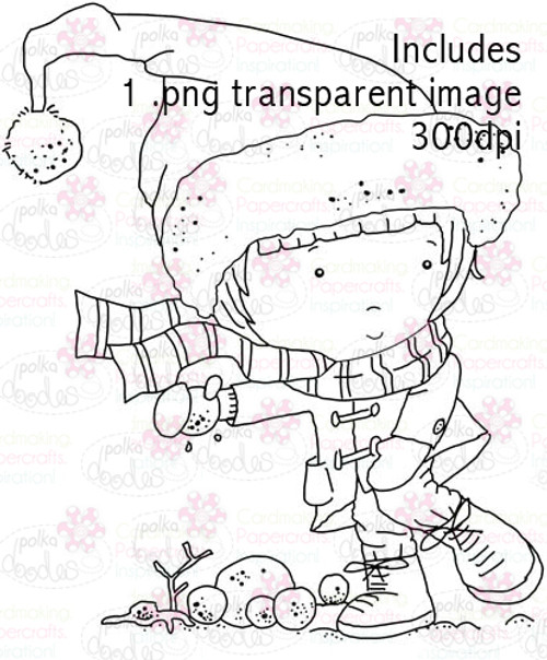 Hollybobs snowballing digital stamp
