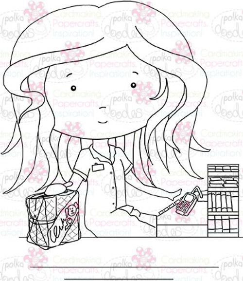 Checkout girl  digital stamp download
